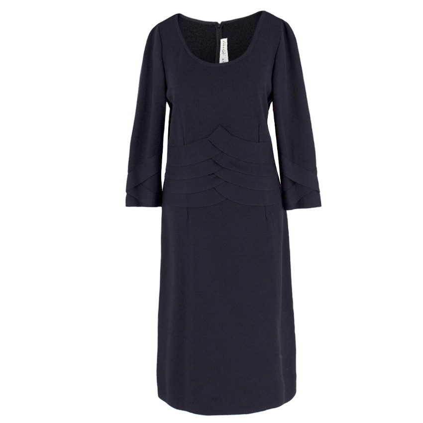 St John Collection Pleated-Waist Dark-Navy Wool Dress