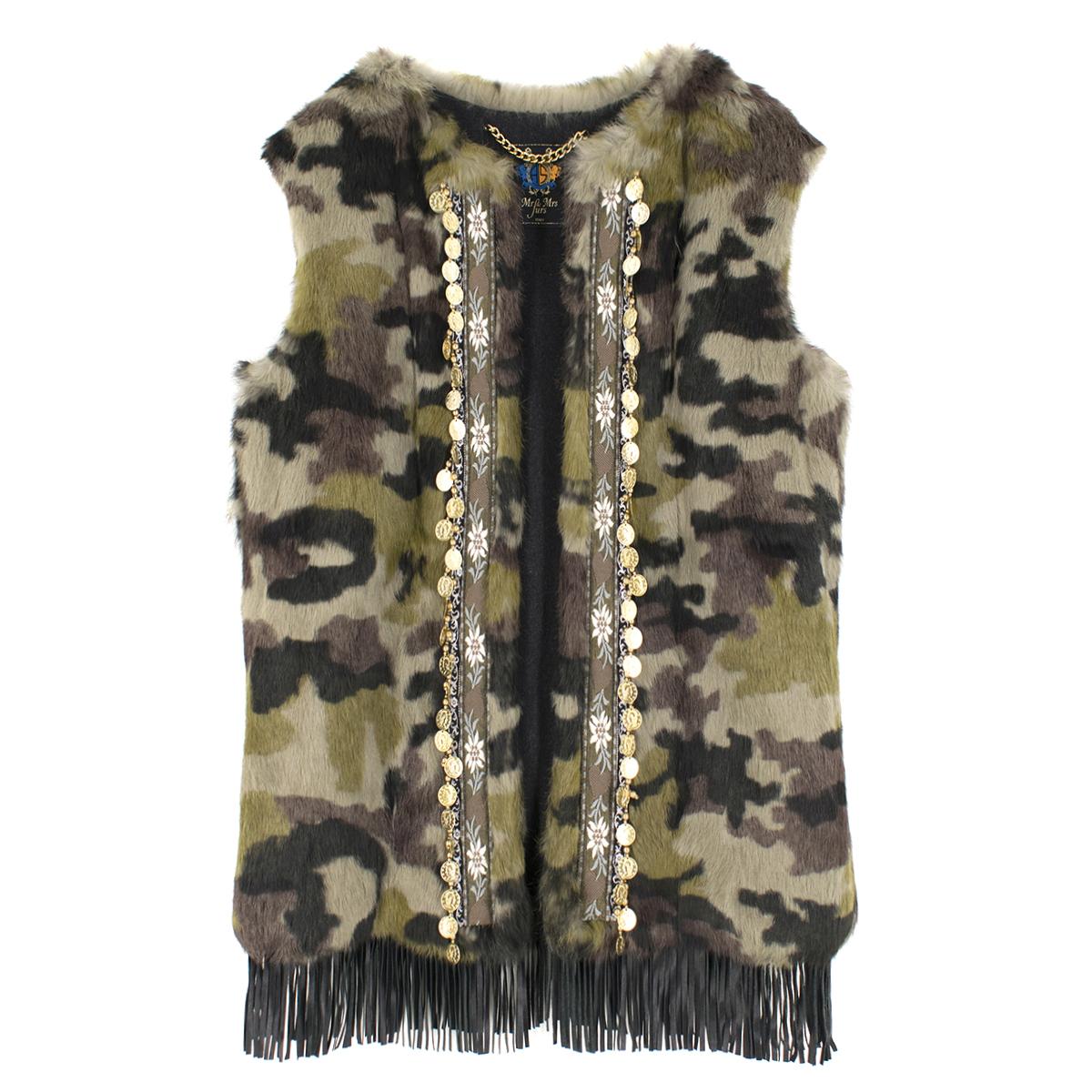 Mr and Mrs Italy Khaki Rabbit Fur Vest