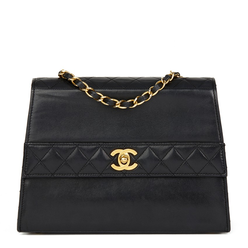 97664087c0a7c1 Chanel Black Lambskin Vintage Trapeze Classic Flap Bag | HEWI London