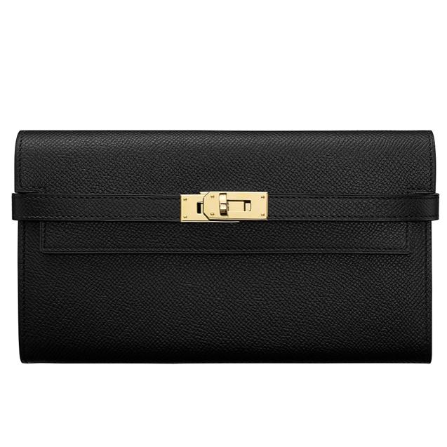 7af74f2298c5 Hermes Kelly Black Epsom Long Wallet