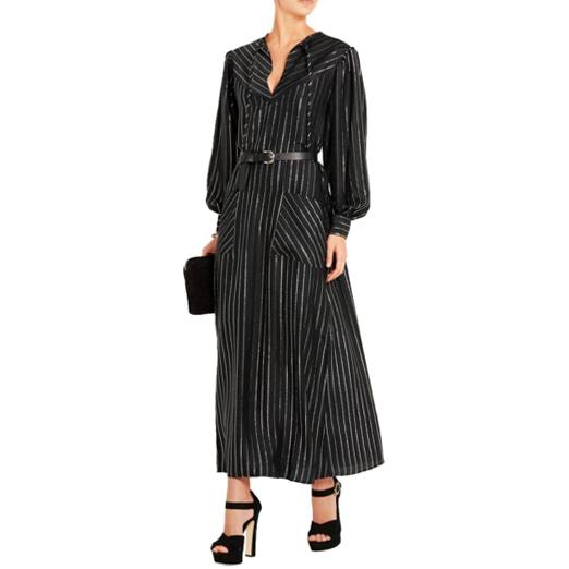 Alessandra Rich metallic-striped silk-blend maxi dress