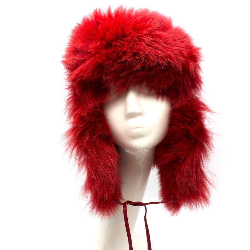 Bespoke Leather & Shearling Red Trapper Hat
