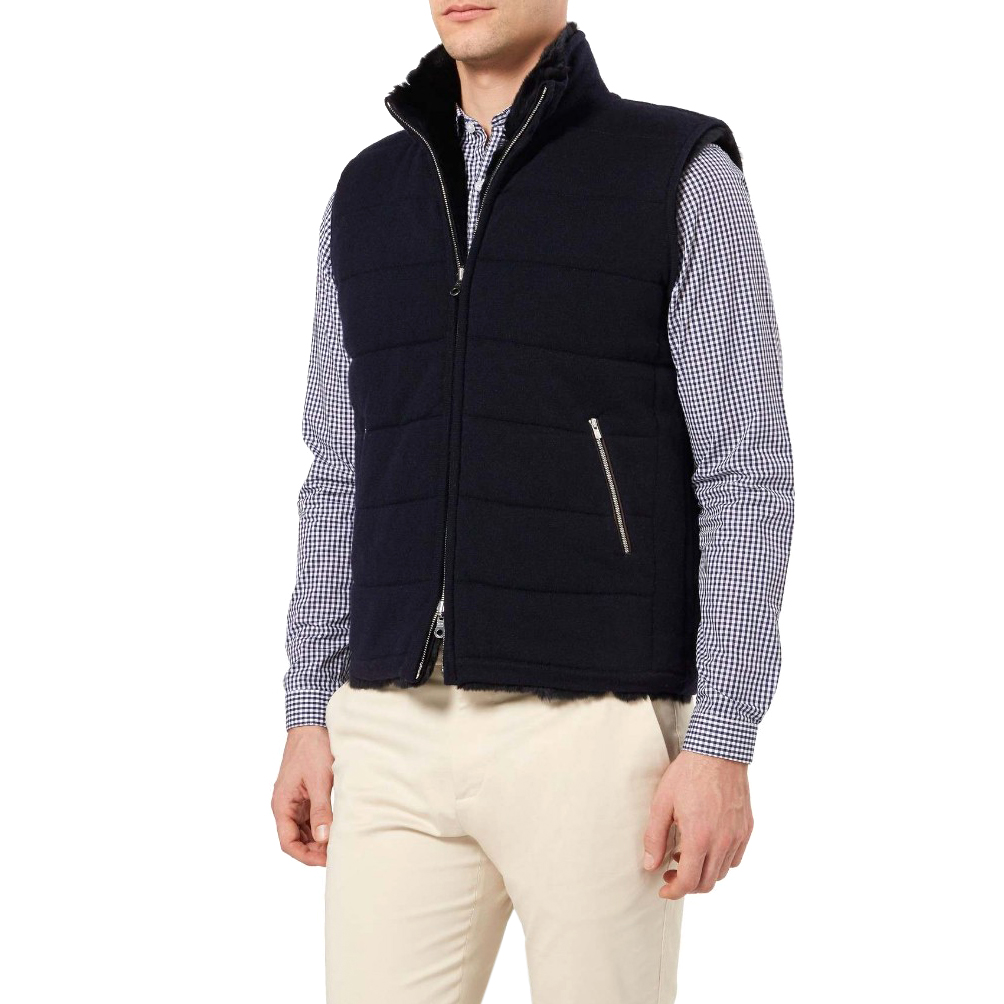 N.Peal navy rabbit fur-lined cashmere gilet