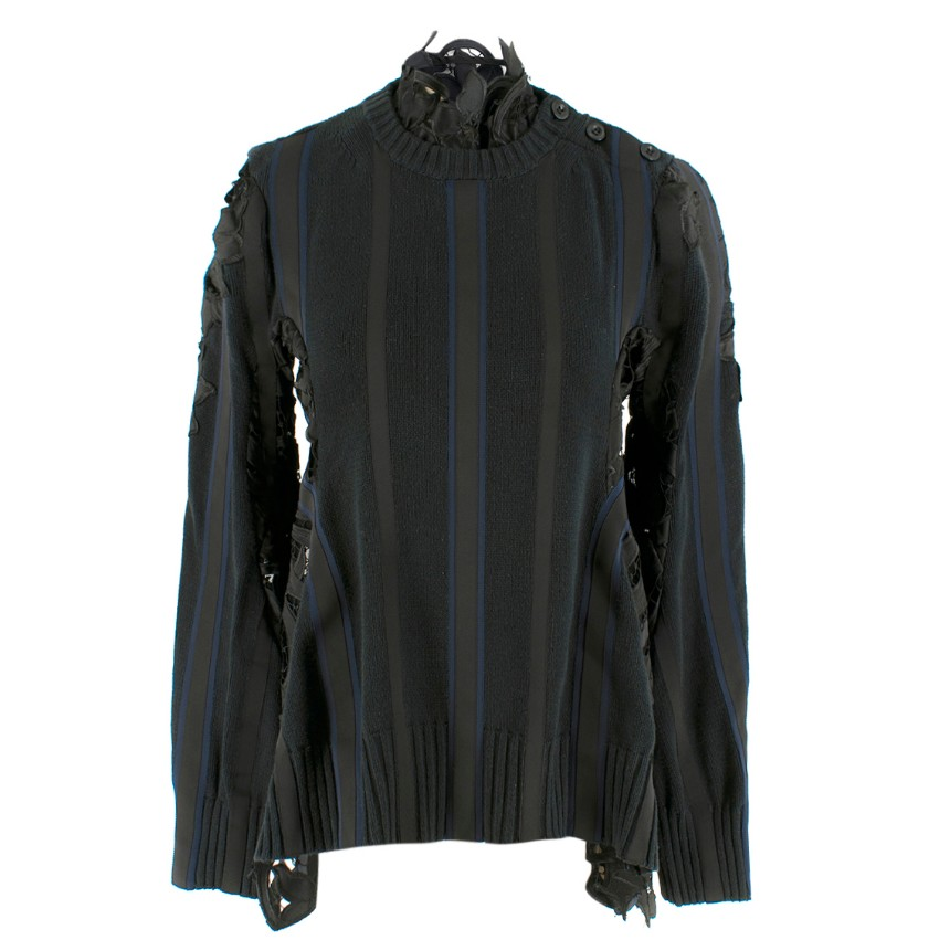 Sacai Floral Lace-Insert Striped Sweater