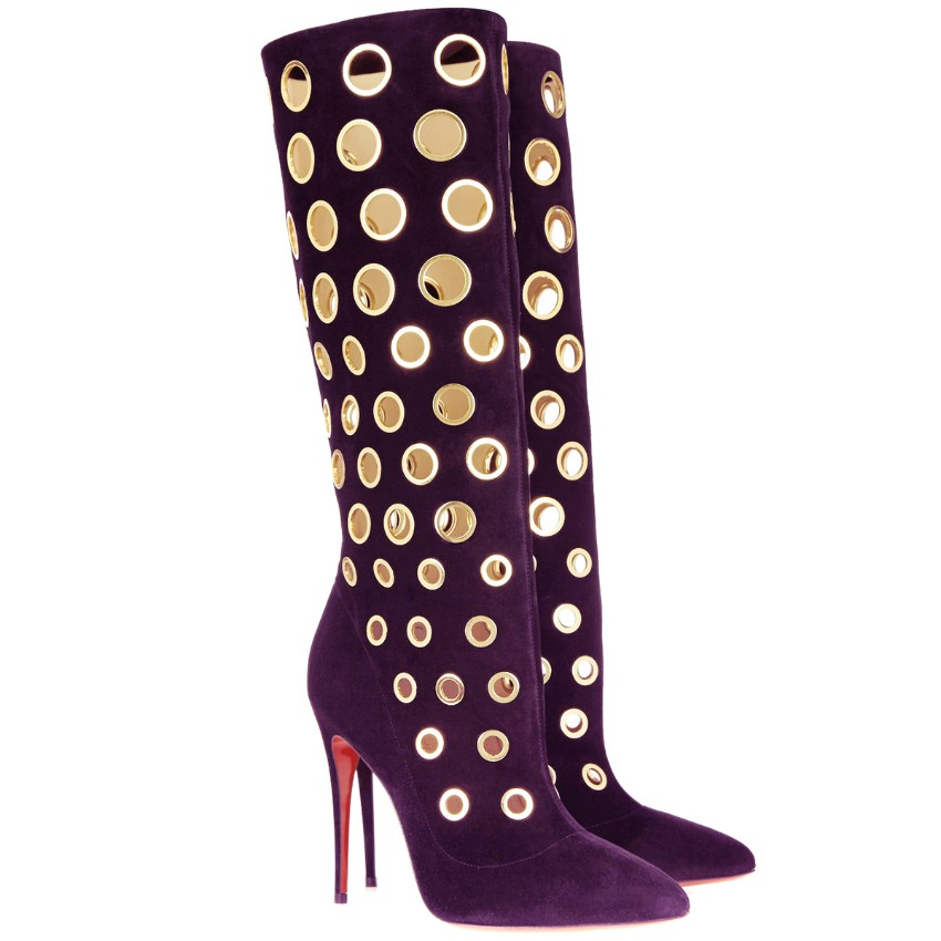 buy online 87dc9 ce917 Christian Louboutin Purple Suede Apollo Boots