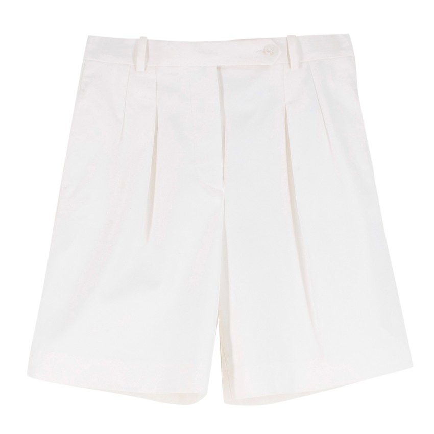 Ermanno Scervino White Wool Pleated-Leg Tailored Shorts