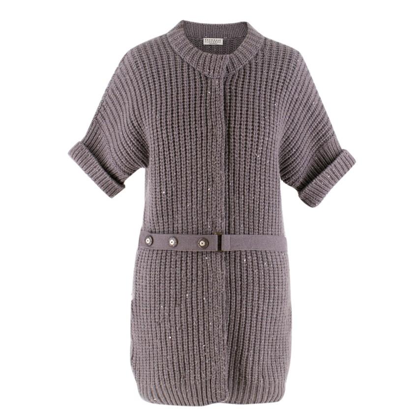Brunello Cucinelli Grey Cashmere Sequin-Embellised Cardigan