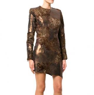Balmain camouflage sequin dress