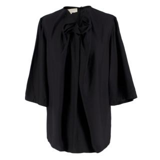 Stella McCartney Black Ruffle Neck Top
