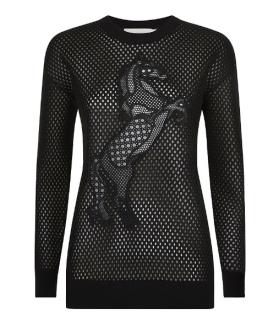 Stella McCartney Horse Embroidered Mesh Neoprene Sweatshirt
