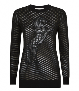 Stella McCartney Horse Embroidered Mesh Neoprene Sweatshirt