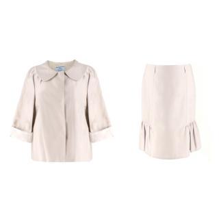 Prada Stone Silk & Wool-Blend Skirt & Jacket Two-Piece