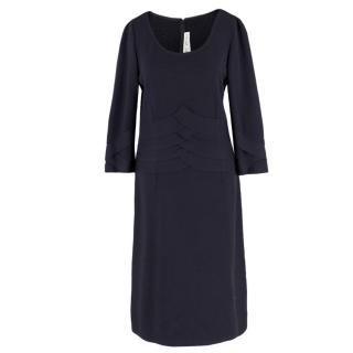 St John Collection Pleated-Waist Dark-Navy Wool Dress