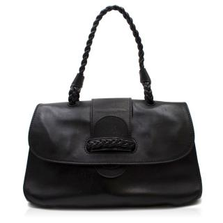 Valentino Black Leather Braided Handle Shoulder Bag