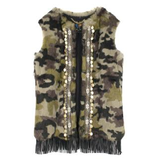 Mr and Mrs Italy Khaki Rabbit Fur Vest