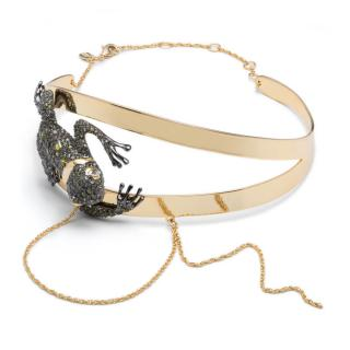 Alexis Bittar Metallic Crystal Encrusted Frog Collar