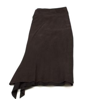 Joseph Split-Hem Brown Suede Skirt