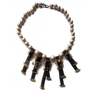 Alexis Bittar Brutalist Chain Mesh Pearl Necklace