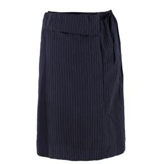 Stella McCartney Blue Pinstripe Wrap Skirt
