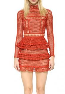 Self Portrait High Neck Lace Panel Dress