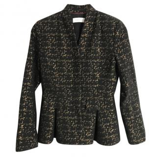 The Fold virgin wool blend black & metallic gold collarless jacket