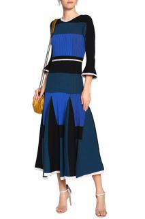 Roksanda Colour-Block Ribbed Knit Wool-Blend Midi Dress