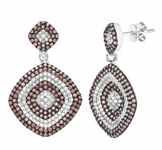 Citerna Brown & Clear Crystal Drop Earrings