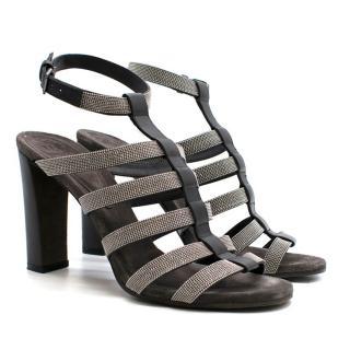 Brunello Cucinelli Diamante Strappy Heeled Sandals