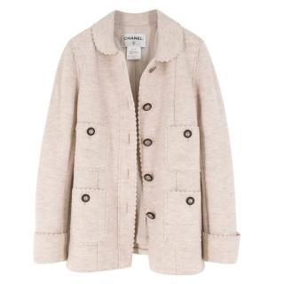 Chanel Ecru Wool Scalloped Detail Jacket