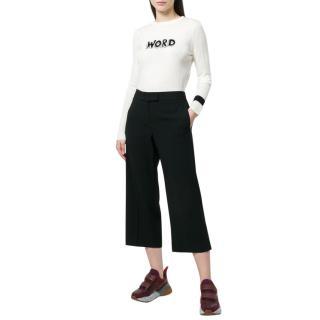 Bella Freud Word White Wool Sweater