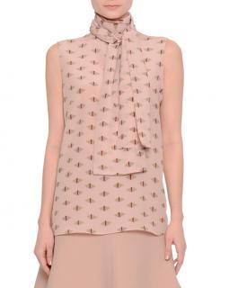 Valentino Pink Geometric Silk Neck Tie Blouse