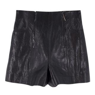 Laurel Leather Lizard Embossed High-Waisted Shorts