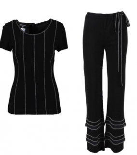 Chanel black top & flared trousers set