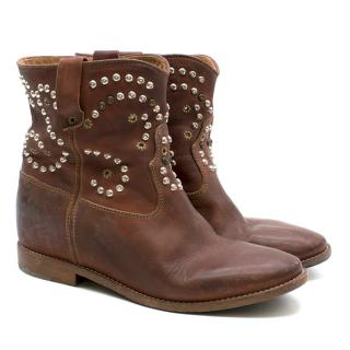 Isabel Marant Distressed Brown Leather Studded Boots