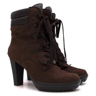 Tods Brown Brushed-Leather Heeled Ankle Boots