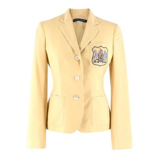 Ralph Lauren Crest Embellished Yellow Wool Blazer Jacket