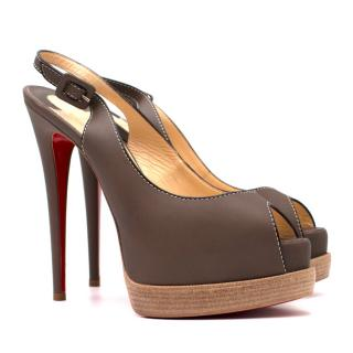 Christian Louboutin Taupe Slingback Leather Sandals