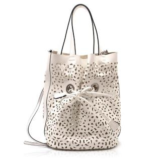 Marni White Leather Laser Cut Bag