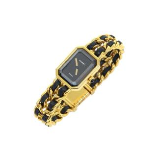 Chanel Premiere Gold & Black Leather Watch