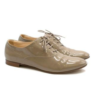 Tod's Taupe Patent-Leather Lace-up Derby Shoes