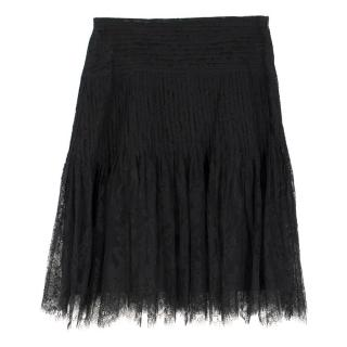 Burberry Black Lace Pleated Skirt