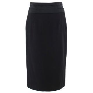 Moschino Black Pleated Waistband Pencil Skirt