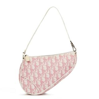 Christian Dior Pink Monogram Canvas Saddle Pouch