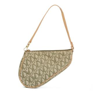 Christian Dior Green Monogram Canvas Saddle Pouch