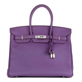 Hermes Clemence Leather Ultraviolet Birkin 35cm