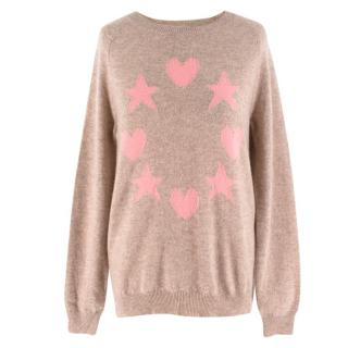 Chinti and Parker Heart-Intarsia Cashmere Jumper