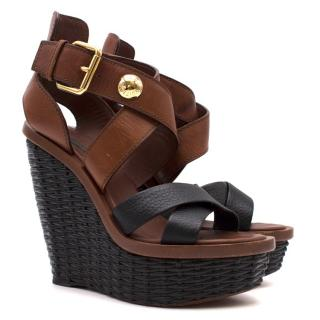 Louis Vuitton Two-Tone Crossover Wicker-Platform Wedge Sandals