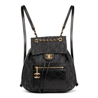 Chanel  Quilted Indigo BlueDenim & Black Calfskin Leather Classic Back
