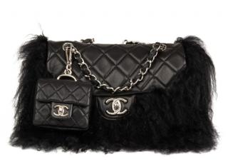 Chanel Black Lambskin & Mongolian Goat Fur Micro Charm Tibet Flap Bag