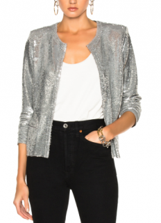IRO Omana Silver Sequinned Jacket
